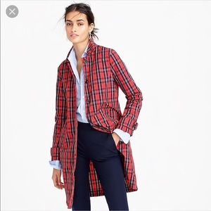 NWOT J.crew collection plaid trench coat in nylon